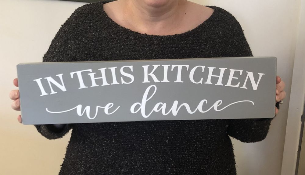 In This Kitchen We Dance, Wood Sign, Vintage, Plaque, Wood Plaque, Wedding gift present